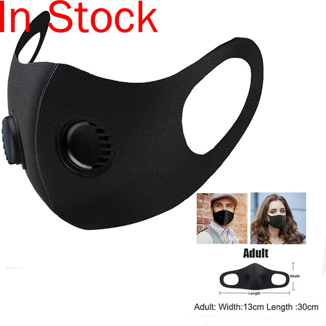 1 pc Breathable Air Purifying Face Mask Washable Black Health Mask with pads for Outdoor Running Cycling Reusable Anti-dust Mask