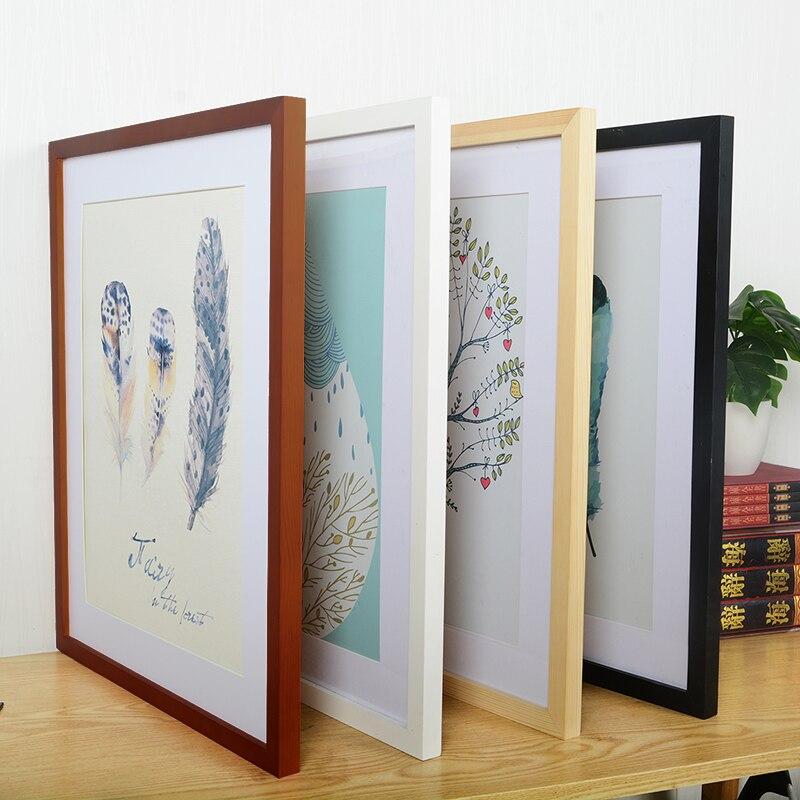 A4 A3 עץ מסגרת שחור לבן צבע תמונה מסגרות עבור קיר אמנות תמונה מסגרות מסגרות תמונה עבור תמונה אגוז עץ מסגרות