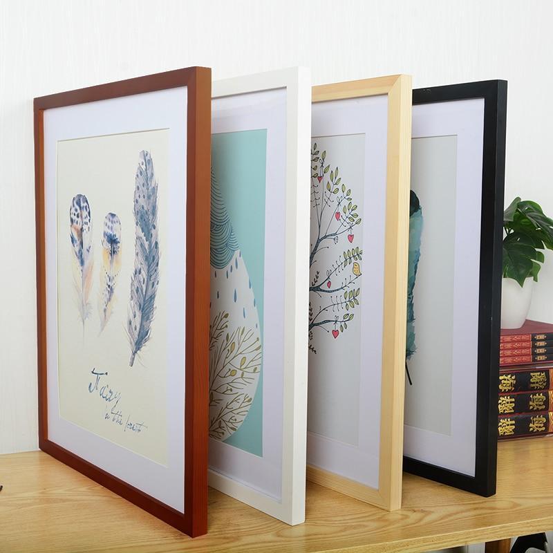 Деревянная рамка A4 A3, черно-белые фоторамки для настенного искусства, фоторамки, рамки для картин, деревянные рамки из ореха