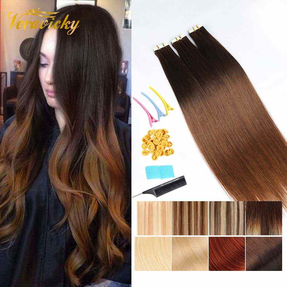 Remy Tape en extensiones de cabello humano Blonde European Hair 16 a 20 pulgadas Double Side Tape Seamless Skin Weft Balayage Color Real Hair Cinta en Natural Hair Extensions Largo y recto