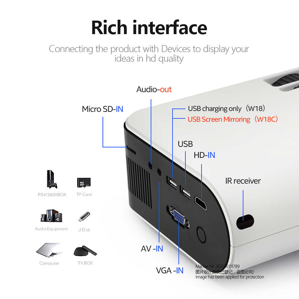 AUN Proyektor MINI W18, 2800 Lumens (Opsional Android 6.0 Wifi W18D), mendukung Full HD 1080P LED Proyektor 3D Home Theater