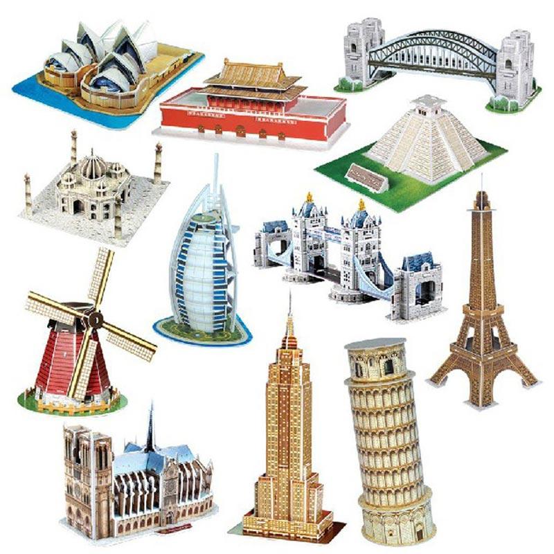 Carboard 3D Paper Building Puzzle Model Toys World Souvenir Tower Bridge White House Notre Dame Tour Eiffel For Kids 6 Years