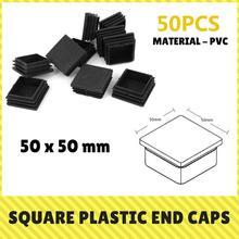 цена на 10/50 Pcs Plastic End Caps Steel Tube Inserts for Fence Railings Steel Pipes Garden Furniture 50x50/50x100 mm