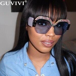 Квадратные Солнцезащитные очки с блестками для женщин 2020, большие алмазные солнцезащитные очки, стразы, градиентные солнцезащитные очки ру...