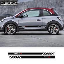 Araba kapı yan etek çıkartmalar Opel Adam S siyah Jack yarış spor çizgili Styling oto vücut dekor vinil çıkartmaları