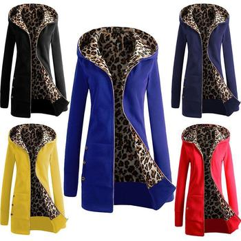 The latest fashion women's hooded thick leopard print sweater + jacket casual long-sleeved mid-length plus velvet winter hoodie