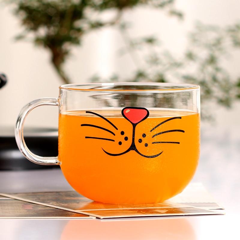 550ml Funny Cat Glass Mug Coffee Milk Cups Breakfast Handle Cup Creative Novelty Gifts|Mugs| - AliExpress