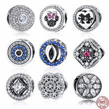 925 Sterling Silver Blue Crystals Eyes Charms Beads fit Original Pandora Bracelet Original DIY Fine Jewelry Making Accessories стоимость