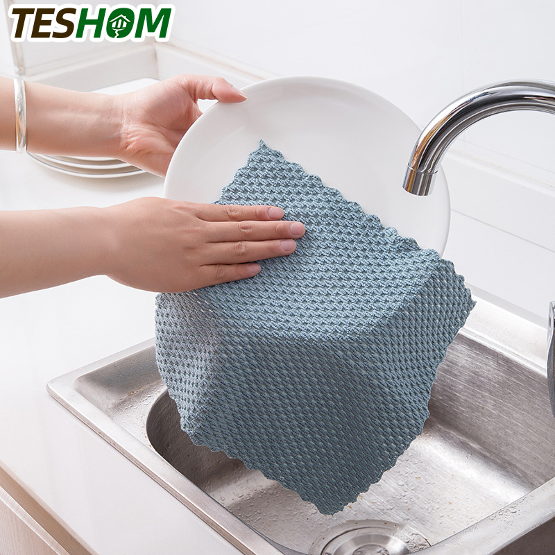 Kitchen Anti-grease Wiping Rags Efficient Super Absorbent Microfiber Cleaning Cloth Washing Dish Kitchen Cleaning Towel
