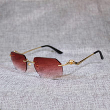 Солнцезащитные очки без оправы в винтажном стиле для мужчин