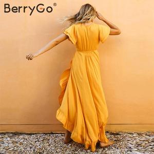 Image 2 - BerryGo Sexy v neck ruffled boho dress women Cotton short sleeve holiday beach maxi dress Casual solid yellow summer wrap dress