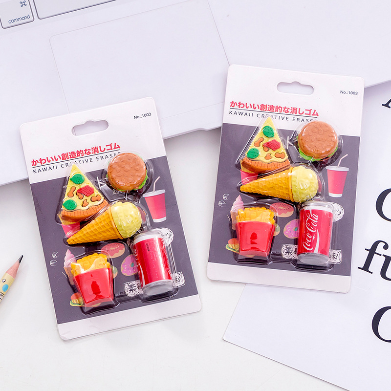 5 Pcs/pack Hamburger Cola Erasers Creative Writing Drawing Rubber Pencil Eraser Stationery For Kids Gifts School Supplies