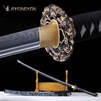 RYONGYON Handmade Katana Real Sword Sharp Samurai Sword Genuine Japan Ninja Sword T10 steel Full Tang Clay Tempered Blade 615 ryongyon handmade katana real sword sharp genuine japanese samurai sword japan ninja sword 1095 steel full tang blade 502