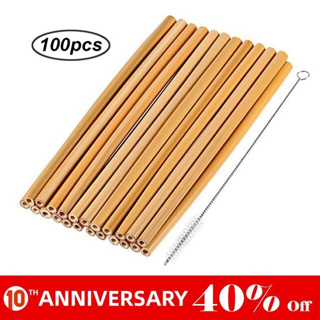 UNTIOR 50 шт/100 шт бамбуковая солома многоразовая солома Органическая натуральная бамбуковая Питьевая соломинка для бара вечерние аксессуары Оптовая продажа