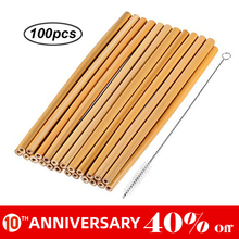 UNTIOR 50PCS/100PCS Bamboo Straw Reusable Straw Organic Natural Bamboo Drinking Straws for Bar Party Accessories Wholesale