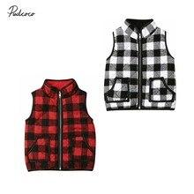 Брендовый зимний жилет для маленьких девочек, толстовки, жилетка, куртка, наружная одежда жилет, клетчатое пальто без рукавов на молнии