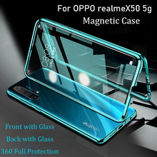 For OPPO Realme X50 5G Magnetic Case 360 Front+Back double-sided 9H Tempered Glass Case for Realme X50 5G Metal Bumper Case