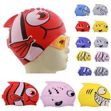 Gorra de baño linda de dibujos animados para niños de silicona para buceo impermeable gorra de natación kawaii con patrón de pez/tiburón para niños