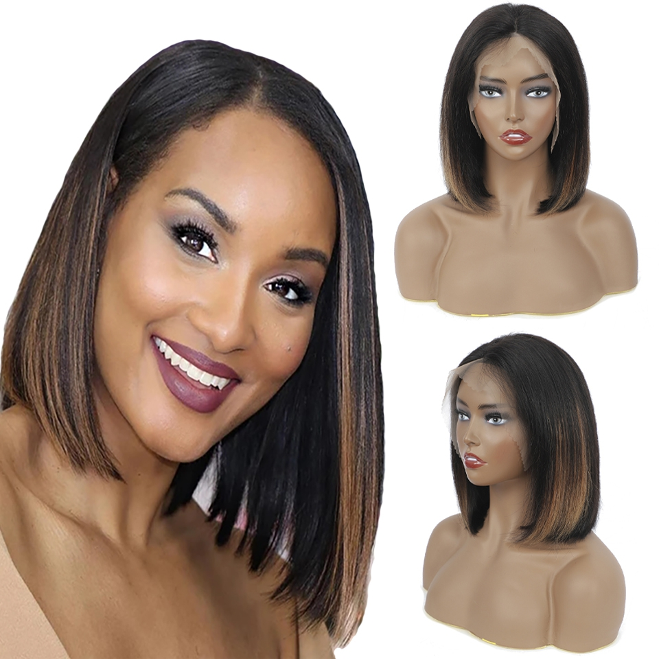 Natural Blonde Straight Short Glueless  HD Color Full Lace Front 13*4 Transparent Highlight  Bob  Pixie Cut Wigs Bang 1