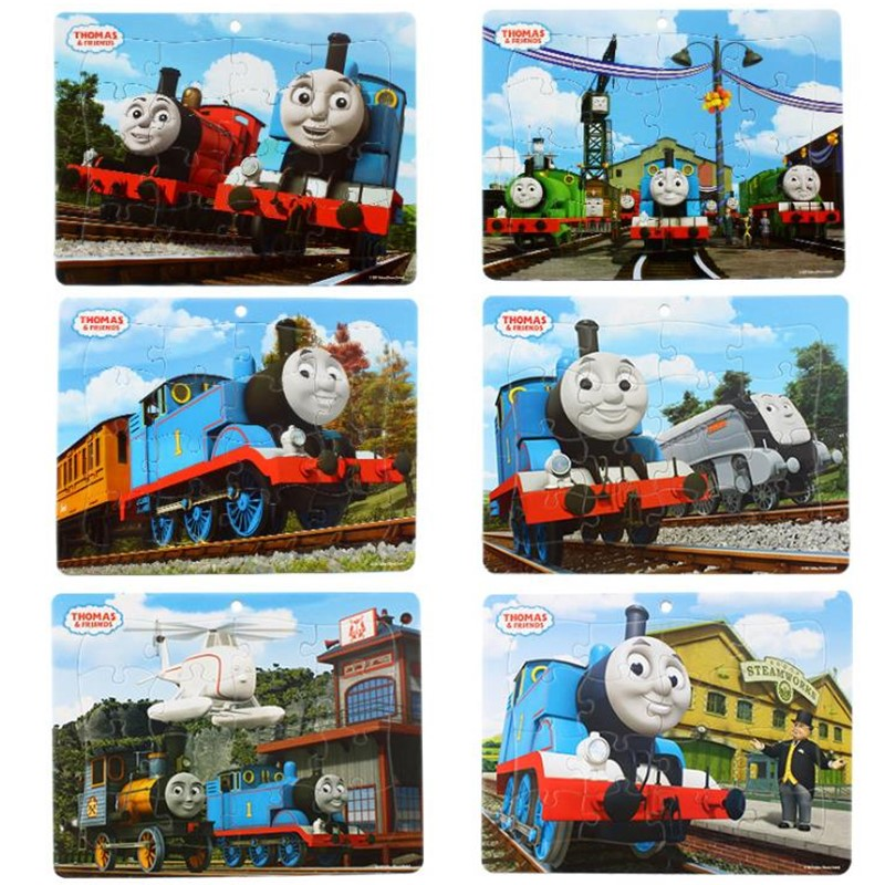 1pcs Disney Thomas Puzzle Toys Paper-framed Puzzles For Little Train Paper Boys And Children Educational Toys 16 Pieces