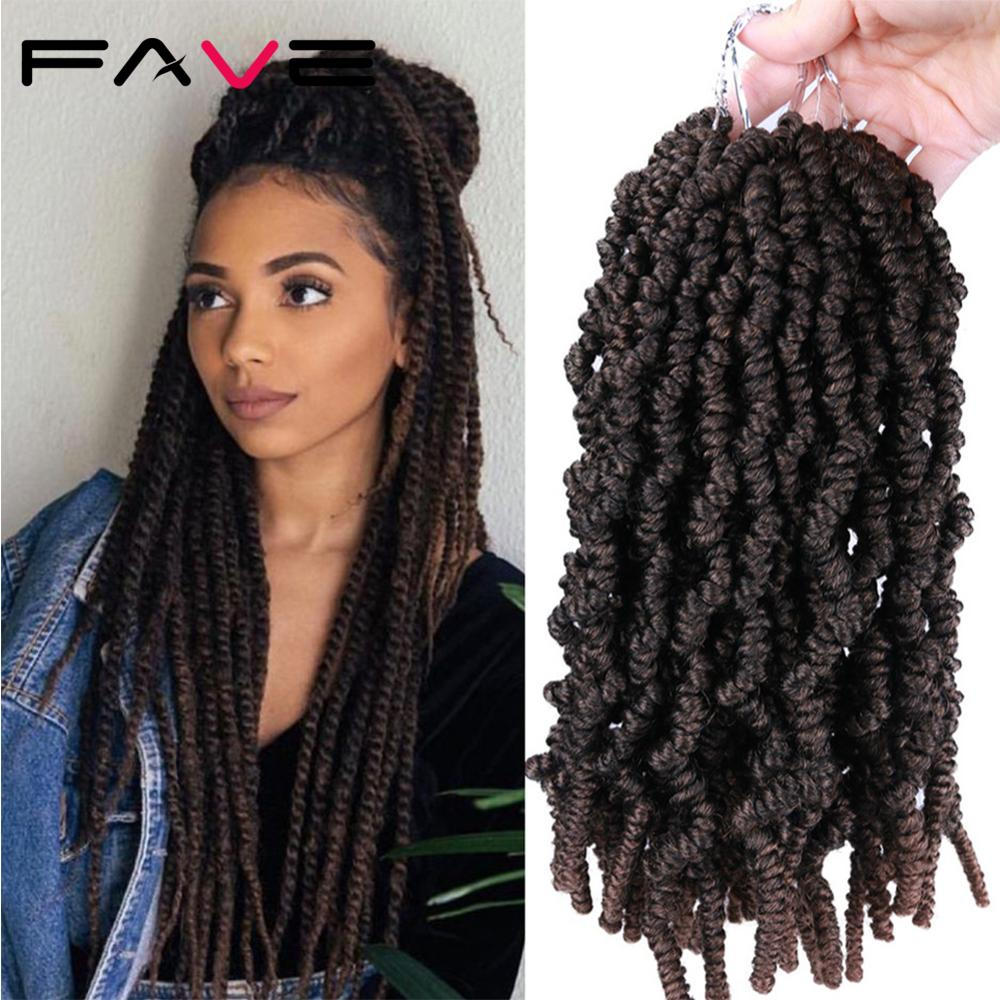 FAVE Passion Twist Crochet Hair Synthetic OmbreTwisted Crochet Braids Pre looped Fluffy Twists Braiding Hair Bulk For Women image