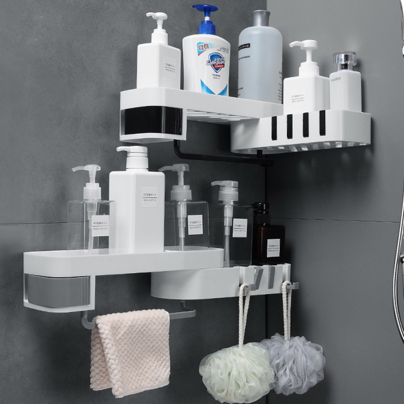 Étagère de douche dangle   Étagère de rangement de salle de bains, support de douche mural, caddie de douche, support de shampooing, organisateur de cuisine, trépied rotatif réglable