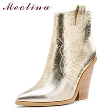 Meotina Brand Women Boots Autumn Western Strange Style High Heel Ankle Zip Pointed Toe Shoes Lady Winter Big Size 46