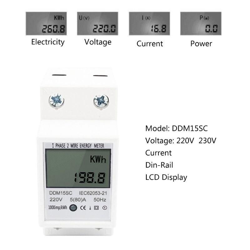 5-80A DDM15SC Pantalla LCD Digital Monof/ásico de riel DIN Medidor electr/ónico de energ/ía KWh MAGT Medidor Kwh