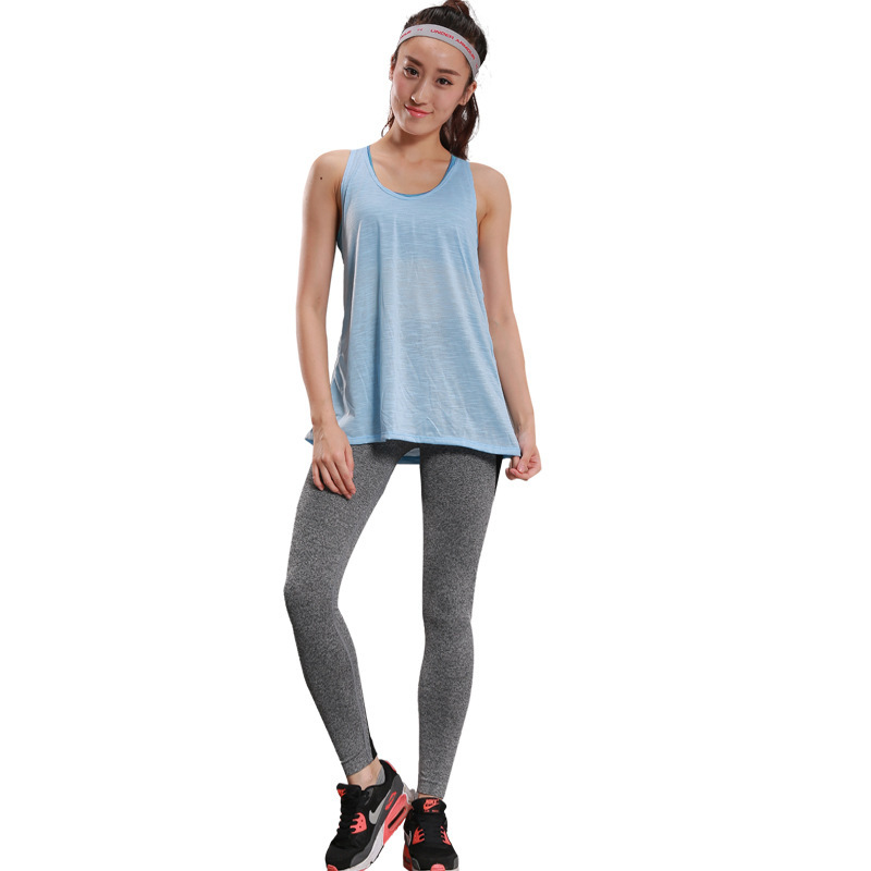 New Women's Fake Two-piece Long Vest With Quick-drying Mesh Stitching Pants Fitness Suit