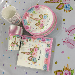 Image 4 - JOY ENLIFE Unicorn Party Supplies ชุดทิ้งตารางแผ่นถ้วยผ้ากันเปื้อนทารกฝักบัววันเกิดตกแต่งสำหรับเด็ก