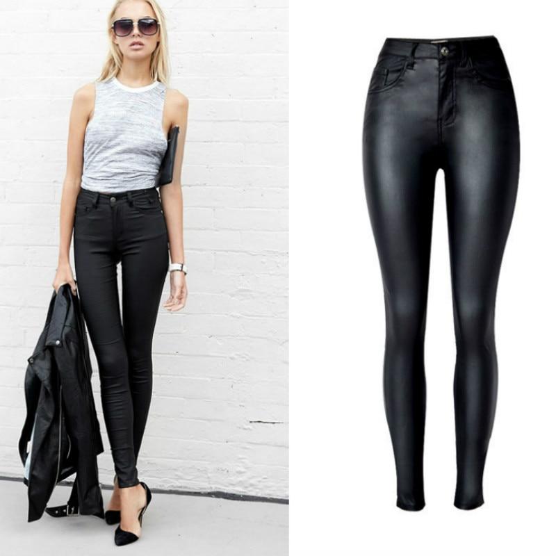 High Waist PU Imitation Leather Jeans Women Fashion Black Elasticity Skinny Jeans Femme Push Up Slim Vaqueros Mujer Pencil Pants 5