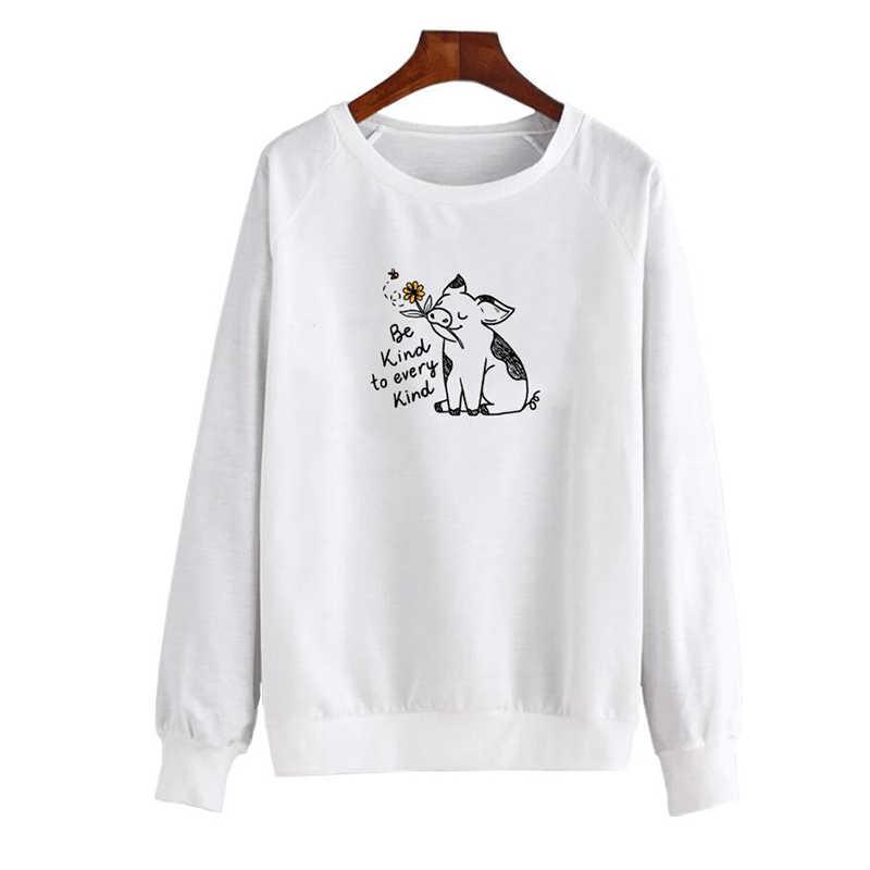 Tür her türlü kadın kazak Streetwear Kawaii domuz komik sonbahar giyim moda anne hediye Ulzzang jumper damla gemi