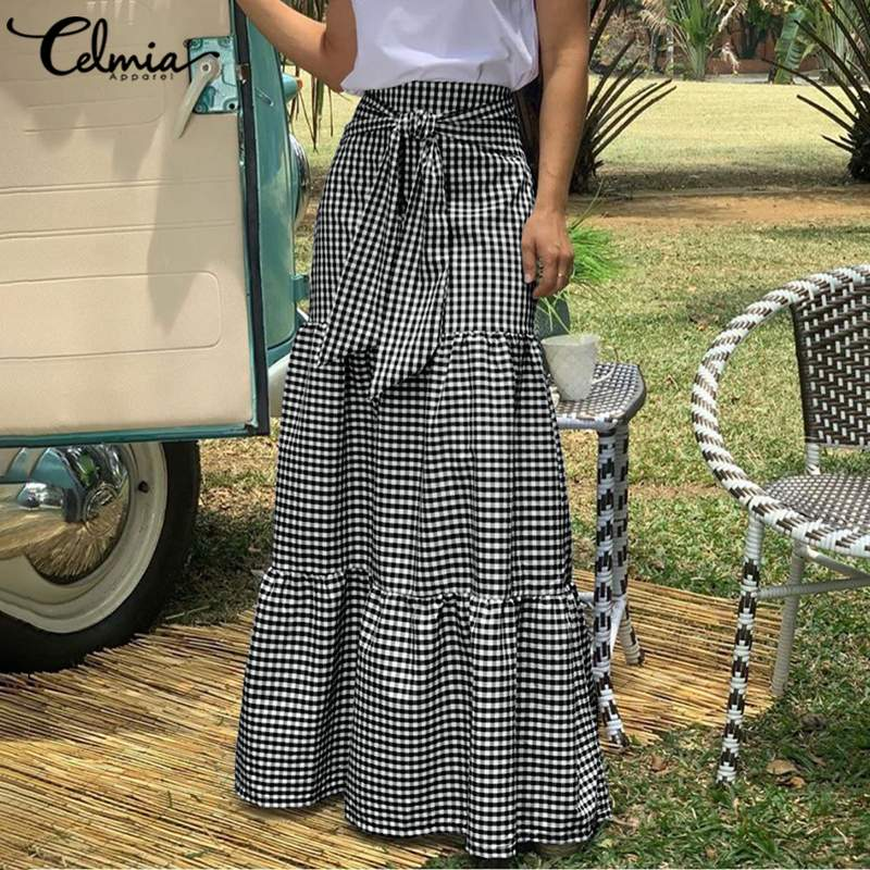2021 Fashion Skirts Celmia Women Vintage Plaid Checked Long Skirts High Waist Casual Loose Belted Pleated Maxi Skirts Plus Size