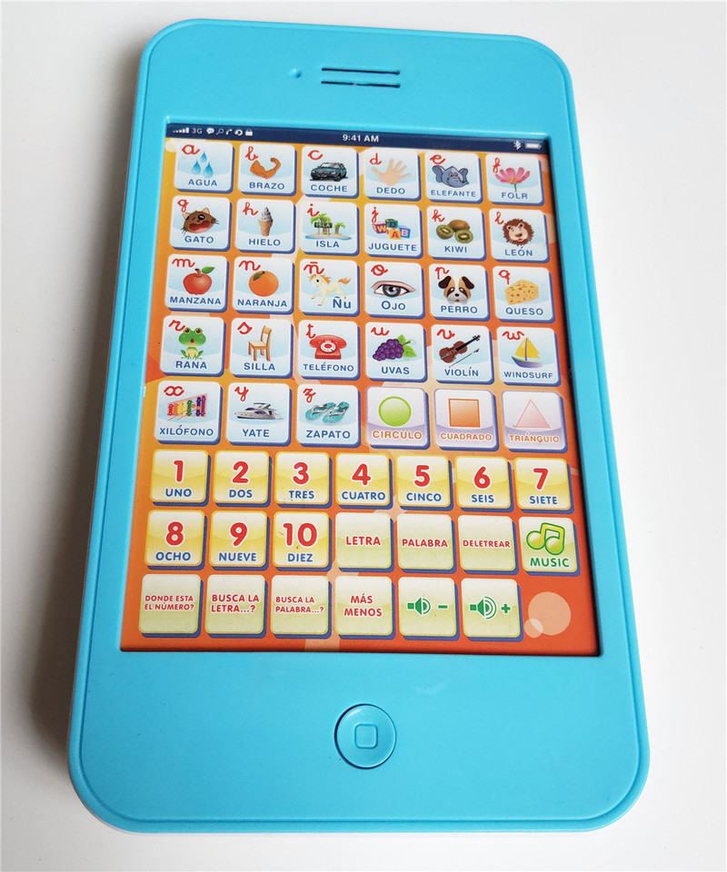 Zhenwei Spanish Learning Pad Kids Tablet Numbers Letters Shapes Multi Functional Early Education <font><b>Toys</b></font> for Children Baby <font><b>Laptop</b></font> image