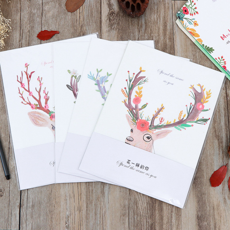 A4 Christmas Vintage Style Mr Deer Letter Writing Paper And Envelopes Set Bts Cards Letters Office School Supplies