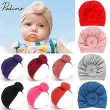 Детские аксессуары для новорожденных детей, малышей, мальчиков и девочек, тюрбан, хлопковая шапочка, шапка зимняя шапка, одноцветные мягкие больничные шапки с узлом