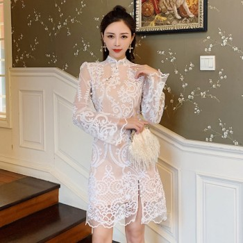 Fashion Summer Midi Party Dress Luxury Women Lace Patchwork Hollow Out White Dress Elegant Flare Sleeve Split Ball Gown Dress