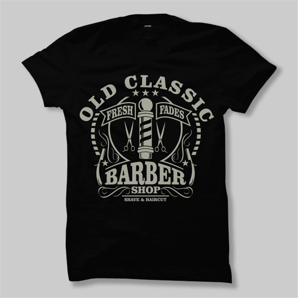 Old Classic Barber Shop Vintage <font><b>Shave</b></font> Shaver Knife Dtg Mens T <font><b>Shirt</b></font> Tees Adults Casual Tee <font><b>Shirt</b></font> image