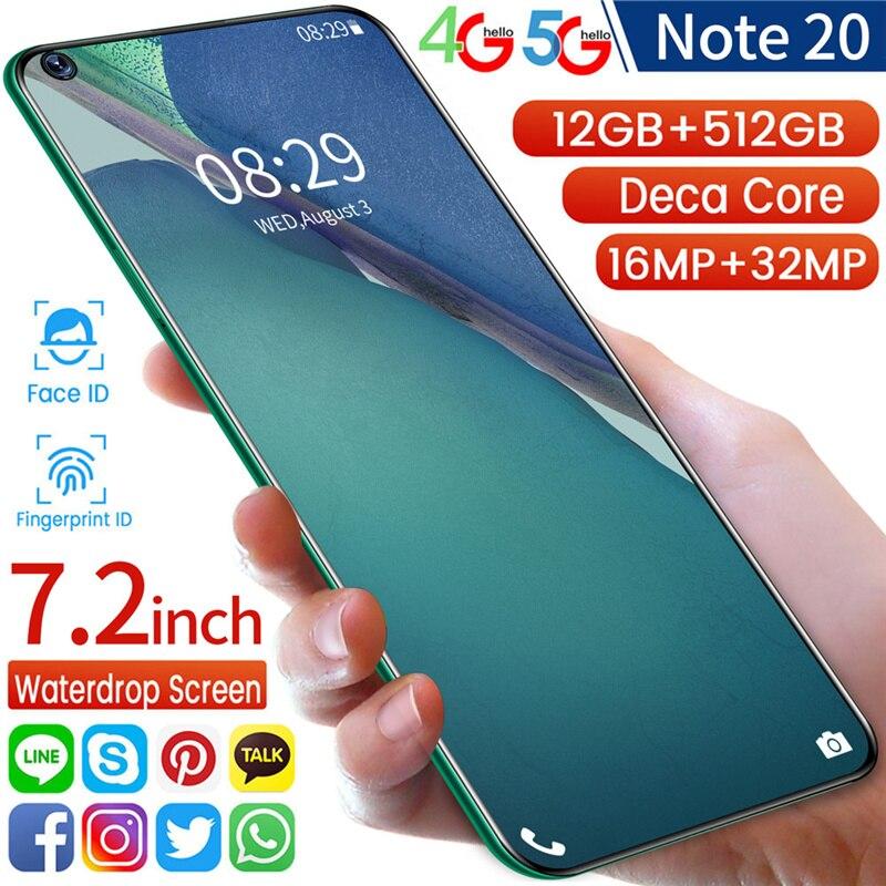Глобальная версия смартфонов Note 20 7,2 дюймов Full-Экран 8G 256G Deca Core, размер экрана отпечатков пальцев разблокирует Dual SIM карты 4G 5G мобильных телеф...