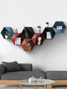 Bathroom Shelf Storage-Rack Wall-Decoration Geometric Living-Room Hexagon Nordic Punch-Free