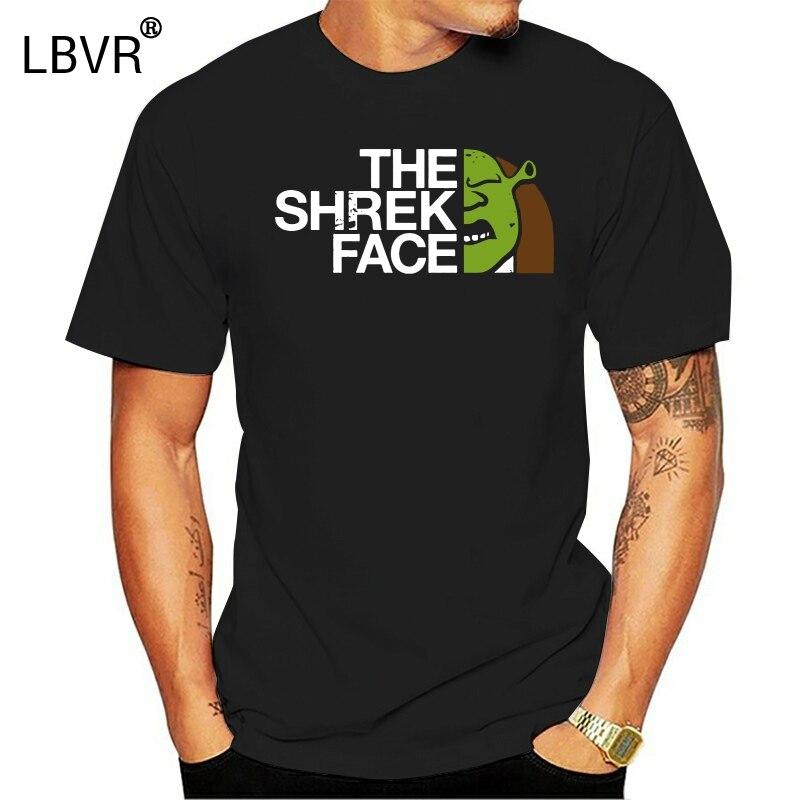 Мужская футболка с принтом, хлопковая Футболка с круглым вырезом и короткими рукавами, новый стиль, женская футболка с рисунком лица Шрек (Collab with G!R)|Футболки|   | АлиЭкспресс
