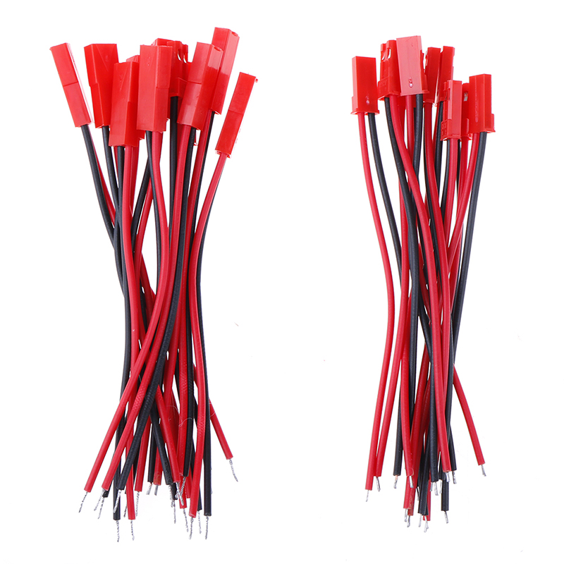 20Pcs Connector Red 2 Pin Connector Male Female JST Plug Cable 22 AWG Wire For RC Battery Helicopter LED Lights Decoration