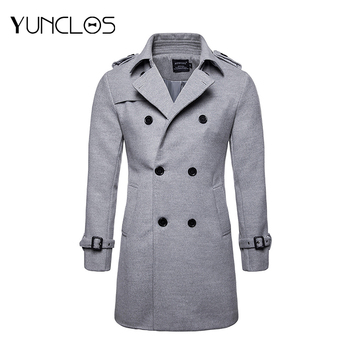YUNCLOS  Men's Trench Coat Polyester Cotton Woolen Winter Long Double Breasted Overcoat Slim Fit Warm Pea Coat S-2XL