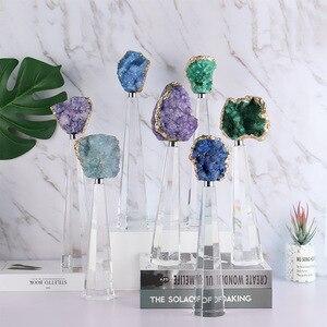 Натуральный агат камень скульптура с полигоном K9 кристалл база фигурки ремесло абстрактный орнамент в отеле домашний Декор Аксессуары