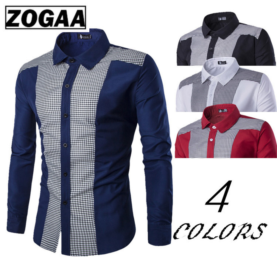 Zogaa 2019 New Classical Shirts Male Shirts Men Spring Autumn Long Sleeve Turn-down Collar Formal Business Men Social Shirts
