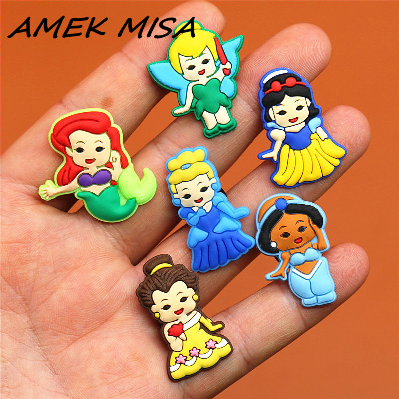 Single Sale 1pcs Cartoon Girls Shoe Charm Shoe Buckles Accessories Sandal Decorations Fit Croc Wristband JIBZ Kid's Party Gifts