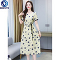 Trend Small Daisy Cotton and Linen Dress Female Summer Dress 2021 New Temperament Waist Slim Fit Fashion Casual Party Vestidos