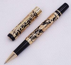 Image 2 - Jinhao 5000 klasyczny luksus metalowe pióro kulkowe piękny smok tekstury rzeźba, czarne i złote pióro atramentowe dla biznesu biurowego