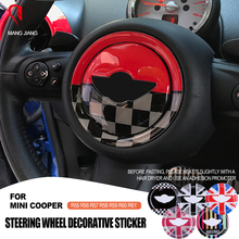 Para mini cooper r55 r56 r57 r58 r59 r60 r61 clubman countryman volante centro 3d dedicado adesivo do carro decalque capa 2 pçs