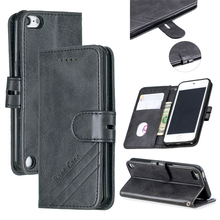 For Apple iPod Touch 7 Case Vintage Calf Grain Leather Flip Stand Shockproof Wallet Cover for 5 6 Card Holder